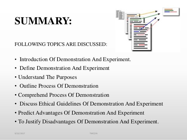 SUMMARY: FOLLOWING TOPICS ARE DISCUSSED: • Introduction Of Demonstration And Experiment. • Define Demonstration And Experi...