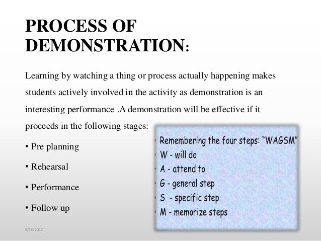 PROCESS OF DEMONSTRATION: Learning by watching a thing or process actually happening makes students actively involved in t...