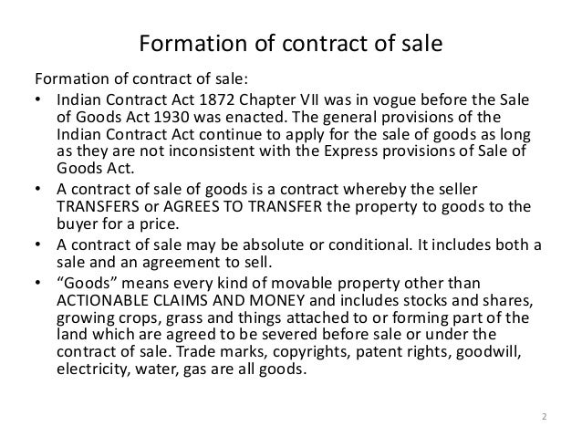 characteristics of sales of goods act