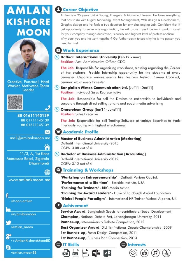 Perfect One Page CV [Amlan Kishore Moon]