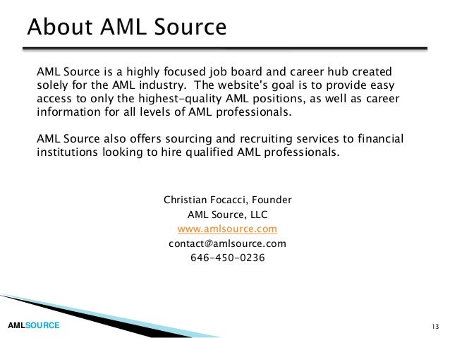 Introduction To Careers In Anti Money Laundering Aml