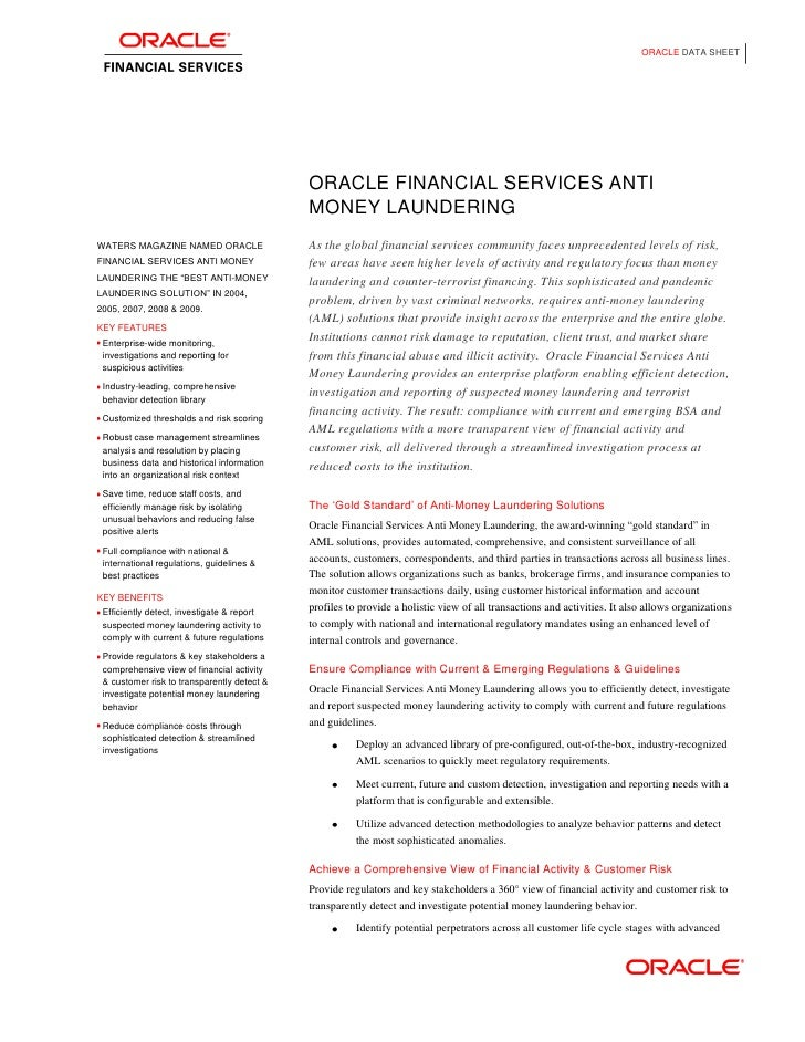 ORACLE DATA SHEET                                             ORACLE FINANCIAL SERVICES ANTI                              ...