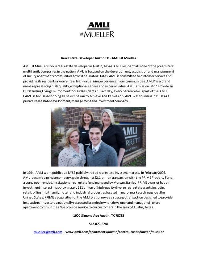 Real Estate Developer Austin TX – AMLI at Mueller  AMLI at Mueller is your real estate developer in Austin, Texas. AMLI Re...