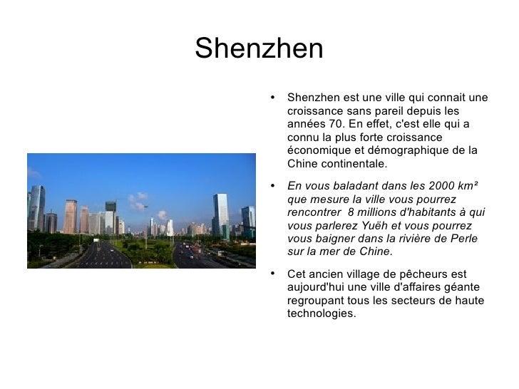montrer que shenzhen a connu un developpement rapide