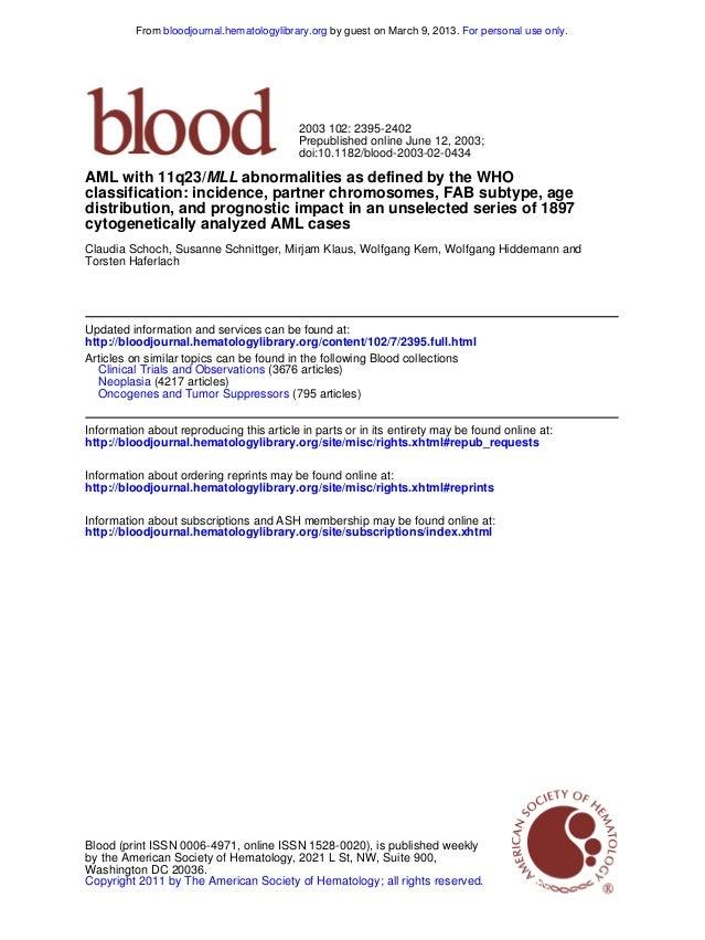 doi:10.1182/blood-2003-02-0434 Prepublished online June 12, 2003; 2003 102: 2395-2402 Torsten Haferlach Claudia Schoch, Su...