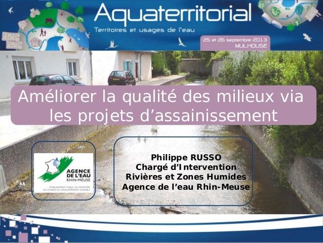 Améliorer la qualité des milieux via les projets d'assainissement Philippe RUSSO Chargé d'Intervention Rivières et Zones H...
