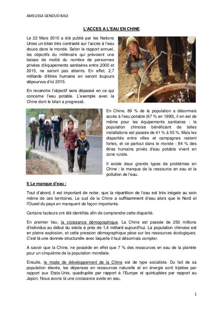 AMELISSA GENOUD BAI2                                L'ACCES A L'EAU EN CHINELe 22 Mars 2010 a été publié par les NationsUn...