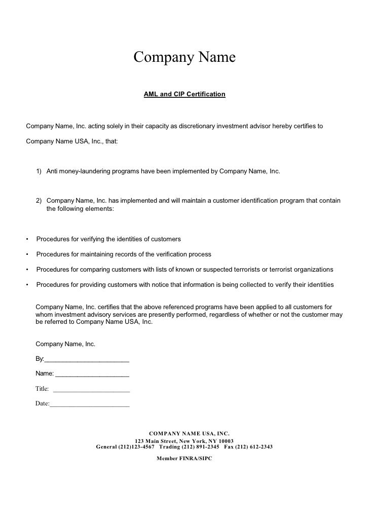 anti money laundering program template - aml letter