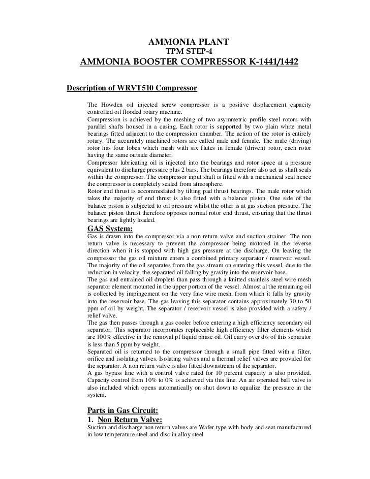 AMMONIA PLANT                                     TPM STEP-4   AMMONIA BOOSTER COMPRESSOR K-1441/1442Description of WRVT51...