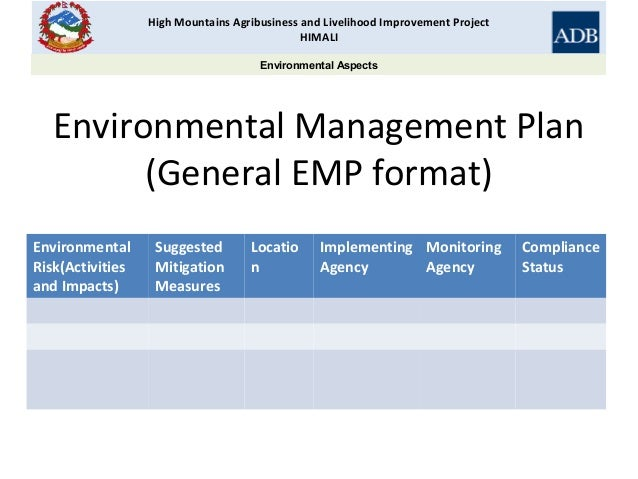 Business Plan Preparation and Environmental Management HIMALI