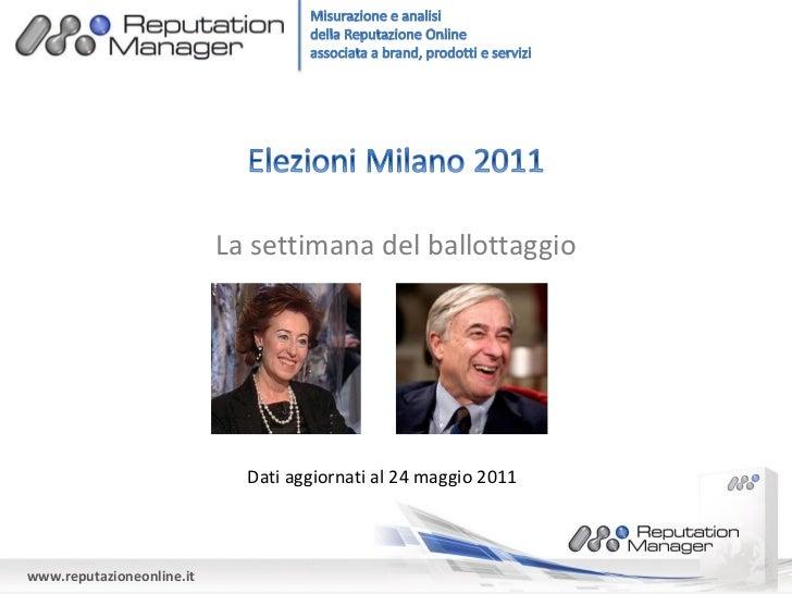 La settimana del ballottaggio                             Dati aggiornati al 24 maggio 2011www.reputazioneonline.it