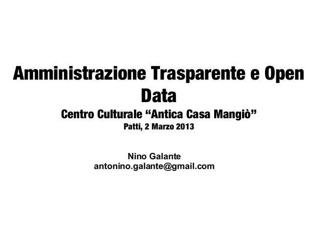 """Amministrazione Trasparente e Open              Data     Centro Culturale """"Antica Casa Mangiò""""                           ..."""