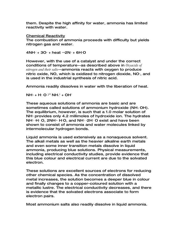 Properties of Ammonia