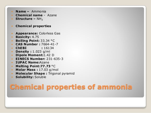 Chemical Properties Of Ammonia Gas