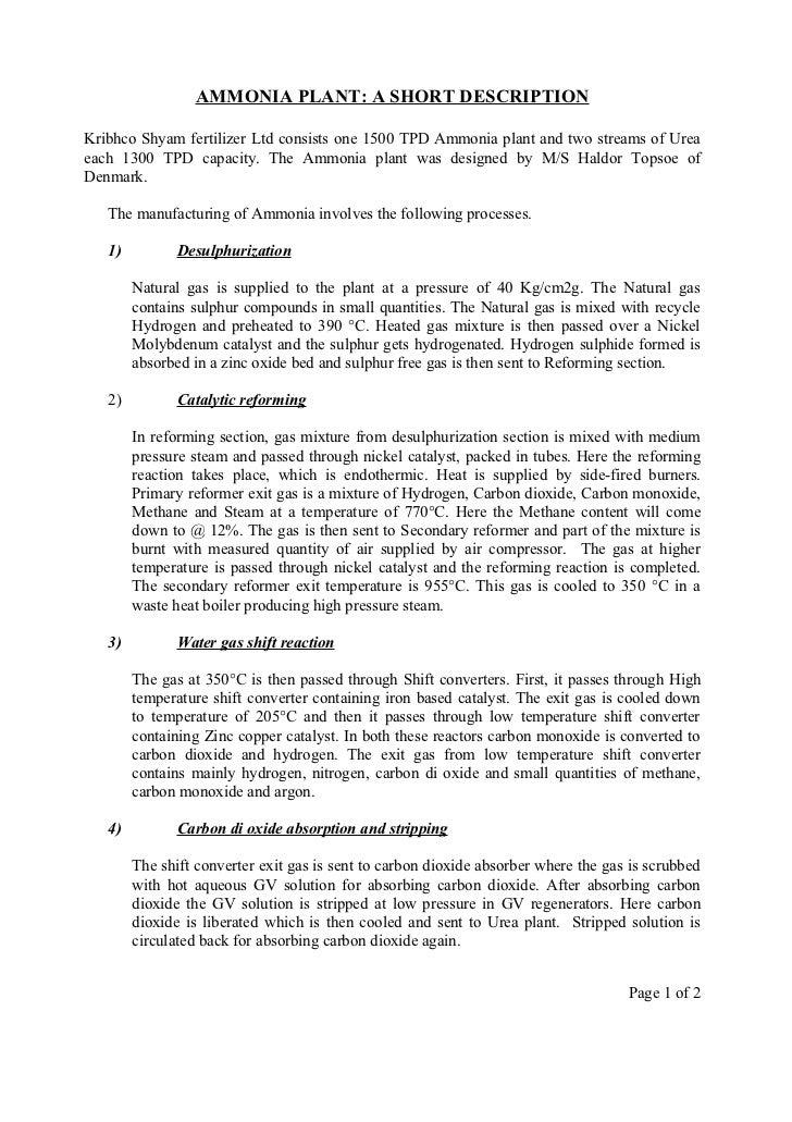 Ammonia plant summary 1