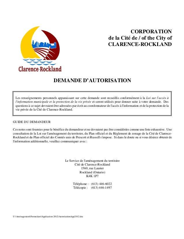 CORPORATION de la Cité de / of the City of CLARENCE-ROCKLAND  DEMANDE D'AUTORISATION Les renseignements personnels apparai...