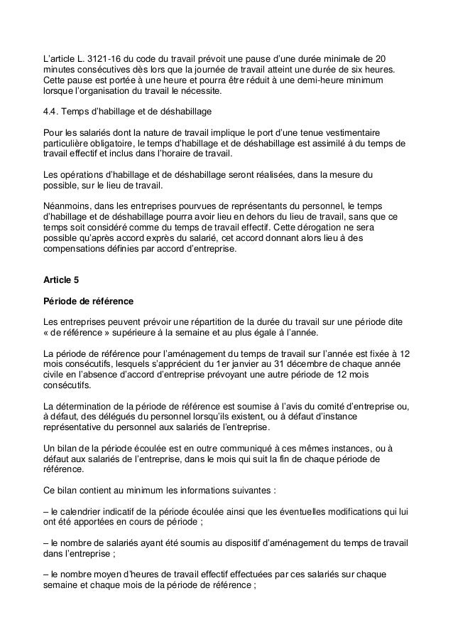 Idcc 3168 Accord Amenagement Organisation Du Temps Travail