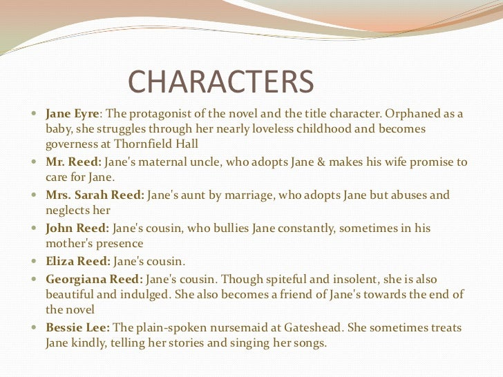 an analysis of the characters in the novel jane eyre by charlotte bronte Throughout her life, jane eyre, the heroine of the novel by charlotte bronte,  relies  but they are also important to jane eyre as a character in her own novel   friendship with mary ann wilson: she had a turn for narrative, i for analysis  she.