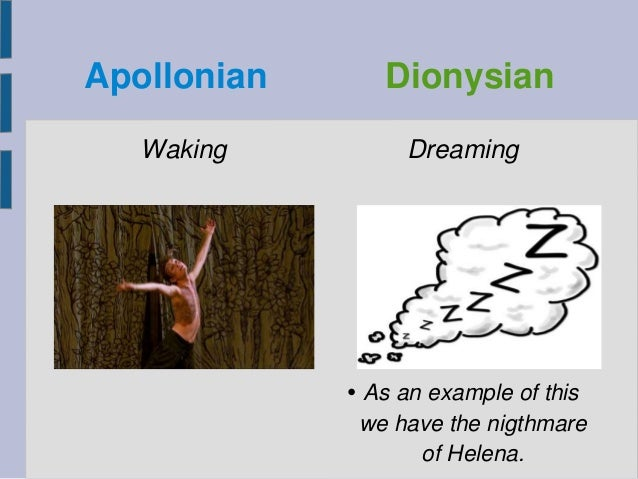 Apollonian Dionysian Waking Dreaming • As an example of this we have the nigthmare of Helena.