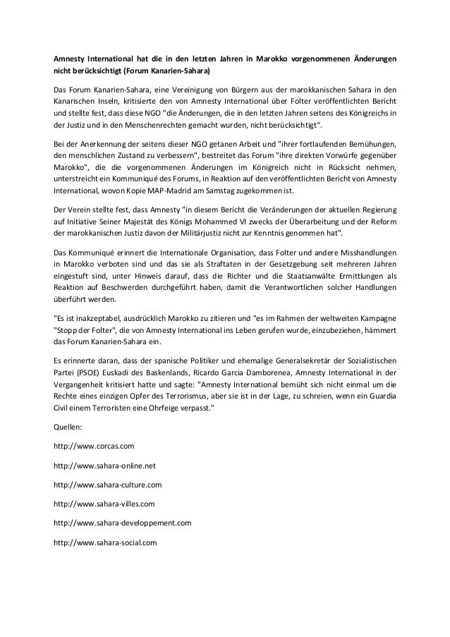 Amnesty International hat die in den letzten Jahren in Marokko vorgenommenen Änderungen nicht berücksichtigt (Forum Kanari...
