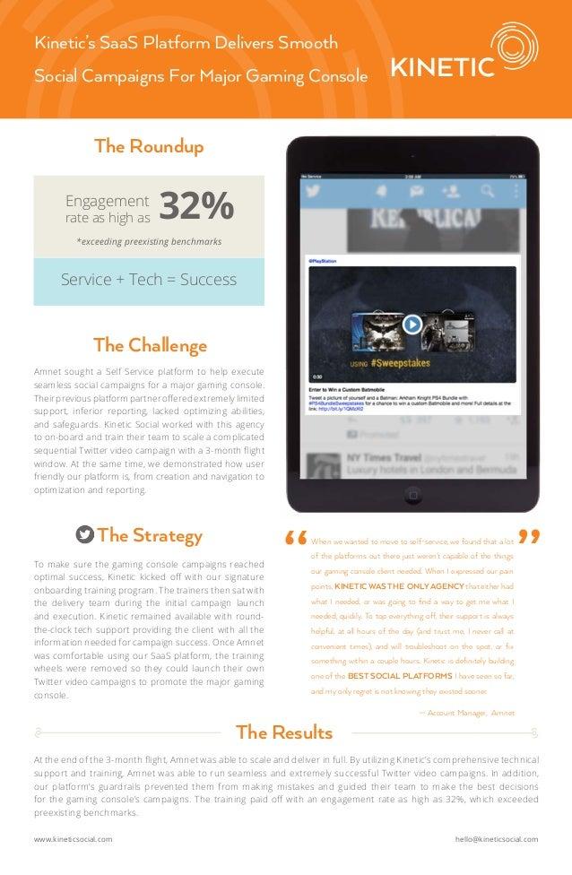 www.kineticsocial.com hello@kineticsocial.com Kinetic's SaaS Platform Delivers Smooth Social Campaigns For Major Gaming Co...
