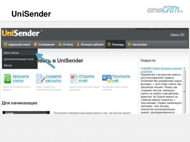 Unisender интеграция с amocrm как удалить новость в битриксе