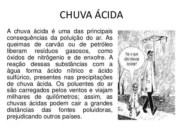 CHUVA ÁCIDA A chuva ácida é uma das principais consequências da poluição do ar. As queimas de carvão ou de petróleo libera...