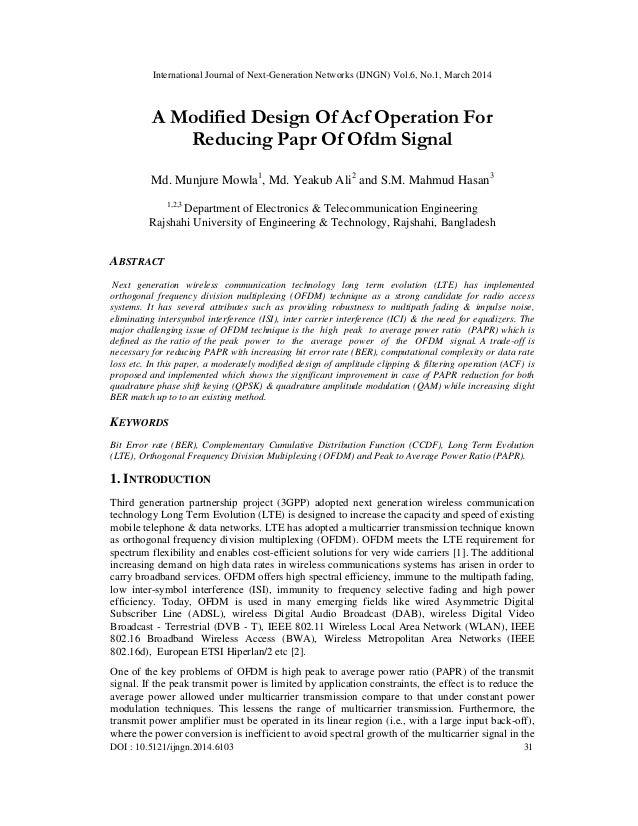 International Journal of Next-Generation Networks (IJNGN) Vol.6, No.1, March 2014 DOI : 10.5121/ijngn.2014.6103 31 A Modif...