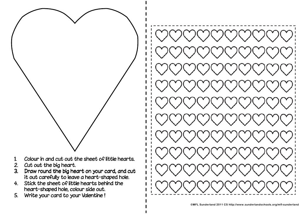 1.   Colour in and cut out the sheet of little hearts.2.   Cut out the big heart.3.   Draw round the big heart on your car...