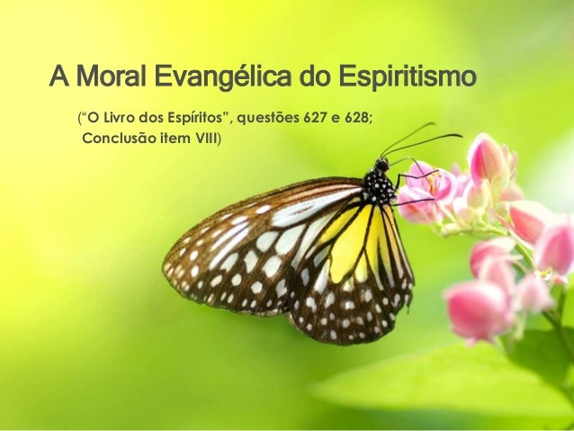 """A Moral Evangélica do Espiritismo (""""O Livro dos Espíritos"""", questões 627 e 628; Conclusão item VIII)"""