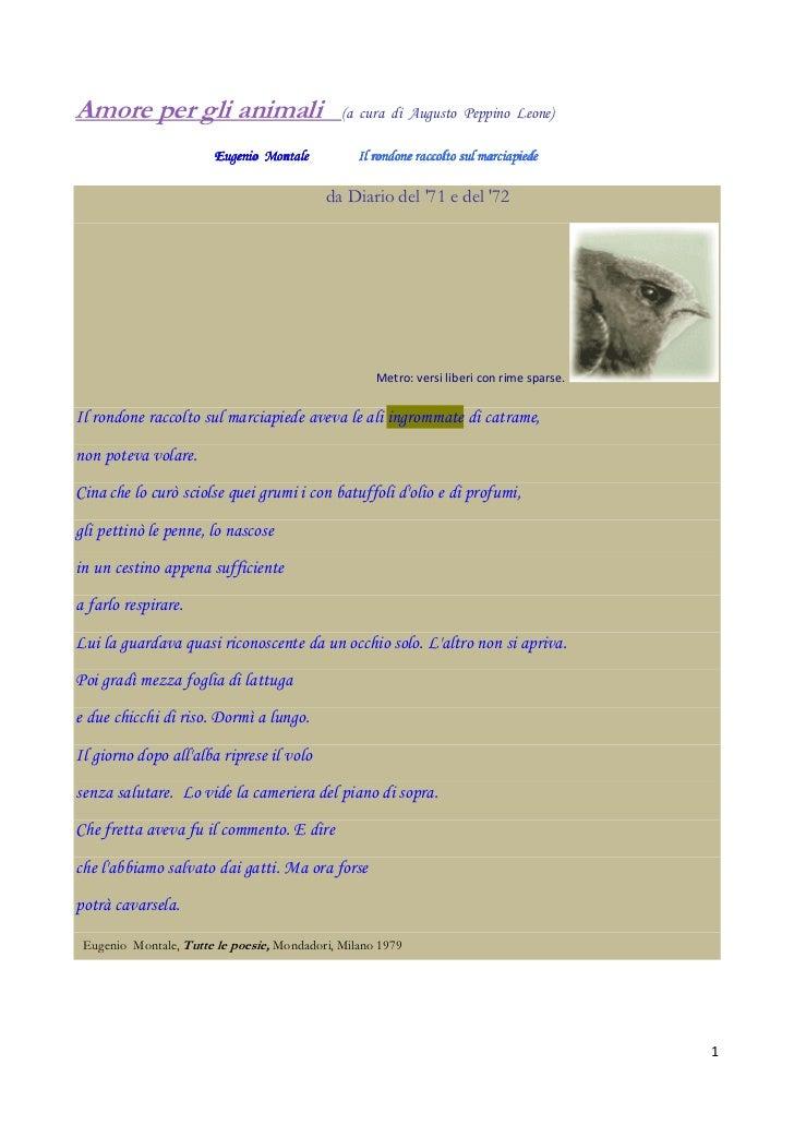 Amore per gli animali                         (a cura di Augusto Peppino Leone)                       Eugenio Montale     ...