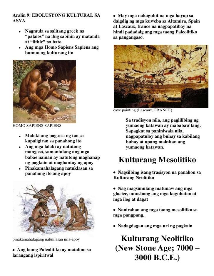 Aralin 9: EBOLUSYONG KULTURAL SA               May mga nakaguhit na mga hayop saASYA                                      ...