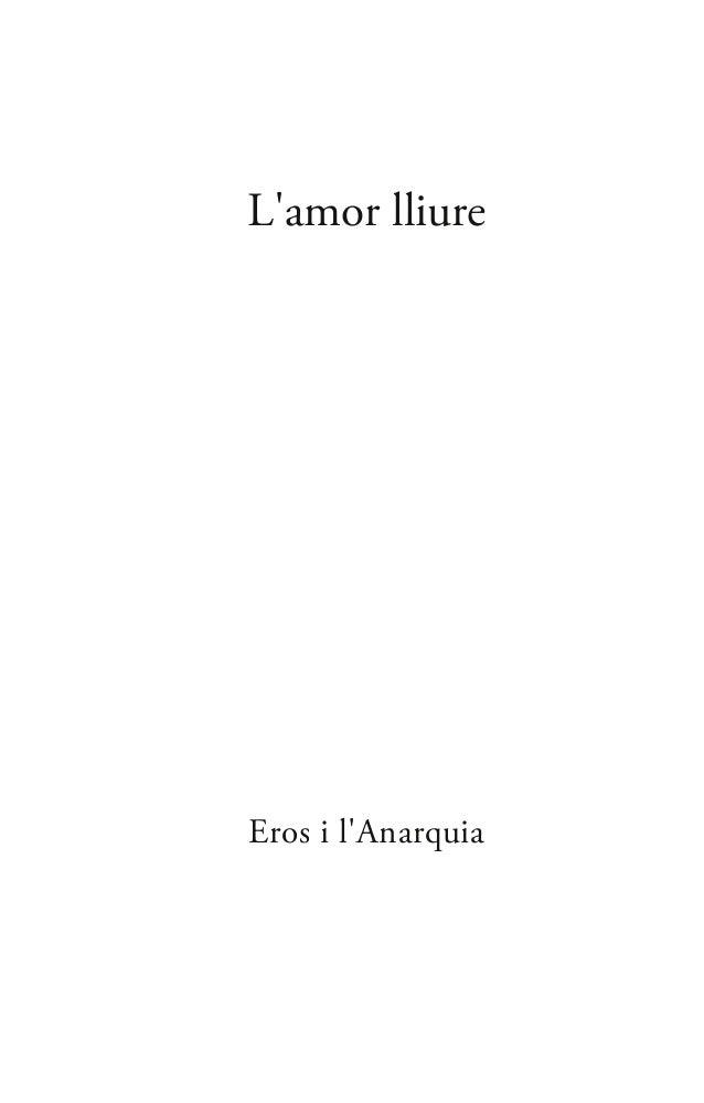 L'amor lliure Eros i l'Anarquia