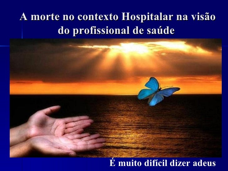 A morte no contexto Hospitalar na visão       do profissional de saúde                 É muito difícil dizer adeus