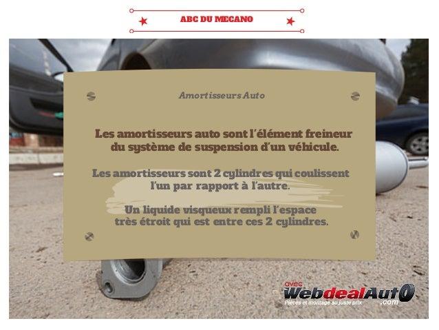ABC DU MECANO  Amortisseurs Auto  Les amortisseurs auto sont l'élément freineur  du système de suspension d'un véhicule.  ...
