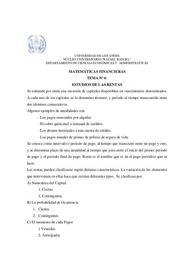 """UNIVERSIDAD DE LOS ANDES                     NÚCLEO UNIVERSITARIO """"RAFAEL RANGEL""""             DEPARTAMENTO DE CIENCIAS ECO..."""