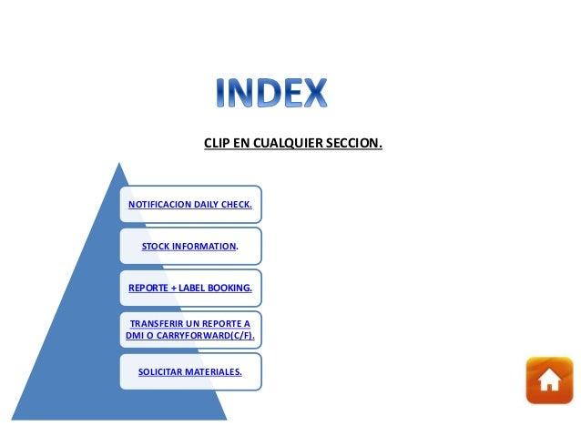 NOTIFICACION DAILY CHECK. STOCK INFORMATION. REPORTE + LABEL BOOKING. TRANSFERIR UN REPORTE A DMI O CARRYFORWARD(C/F). SOL...