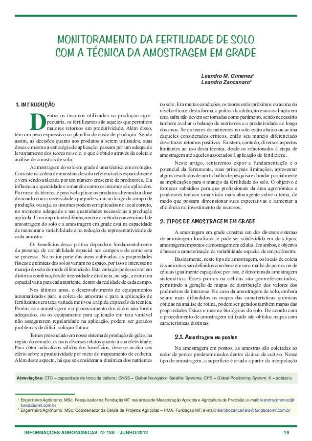 INFORMAÇÕES AGRONÔMICAS Nº 138 – JUNHO/2012 19 1. INTRODUÇÃO D entre os insumos utilizados na produção agro- pecuária, os ...