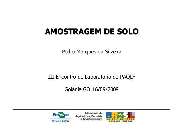 AMOSTRAGEM DE SOLO     Pedro Marques da SilveiraIII Encontro de Laboratório do PAQLF      Goiânia GO 16/09/2009