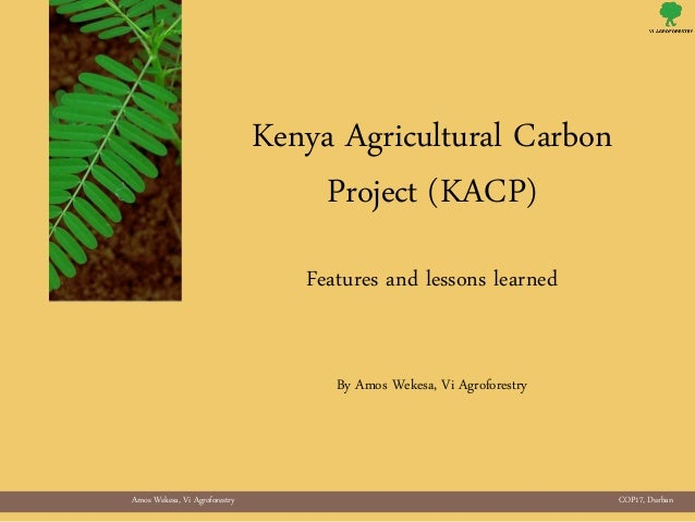 Amos Wekesa, Vi Agroforestry COP17, DurbanKenya Agricultural CarbonProject (KACP)Features and lessons learnedBy Amos Wekes...