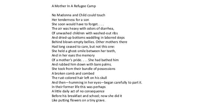 refugee mother and child poem analysis