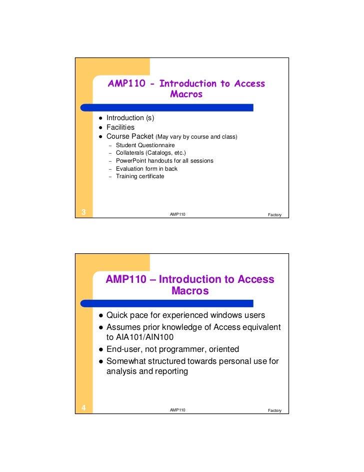 AMP110 Microsoft Access Macros