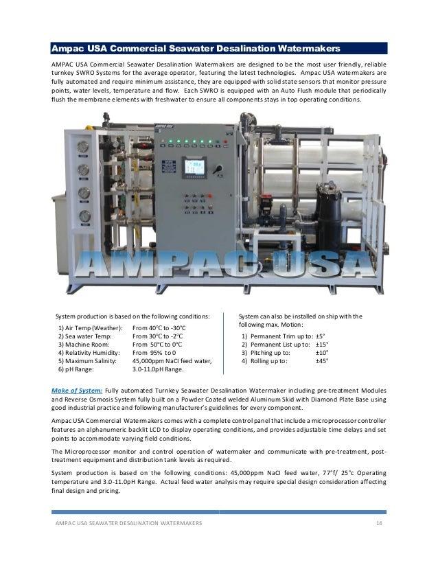 Ampac USA seawater desalination SWRO Watermakers