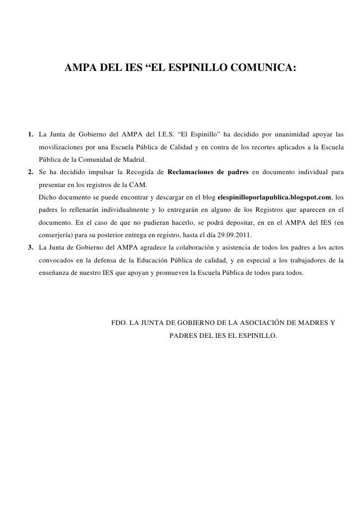 """AMPA DEL IES """"EL ESPINILLO COMUNICA:1. La Junta de Gobierno del AMPA del I.E.S. """"El Espinillo"""" ha decidido por unanimidad ..."""