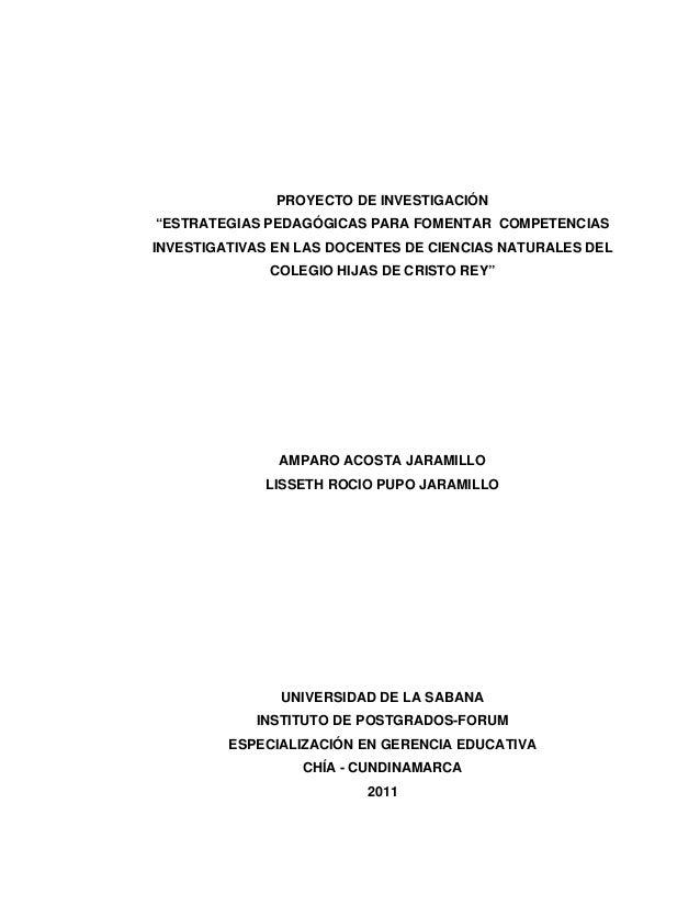 """2  PROYECTO DE INVESTIGACIÓN  """"ESTRATEGIAS PEDAGÓGICAS PARA FOMENTAR COMPETENCIAS  INVESTIGATIVAS EN LAS DOCENTES DE CIENC..."""