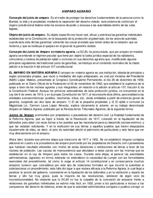 AMPARO AGRARIO Concepto del juicio de amparo. Es el medio de proteger los derechos fundamentales de la persona como: la li...