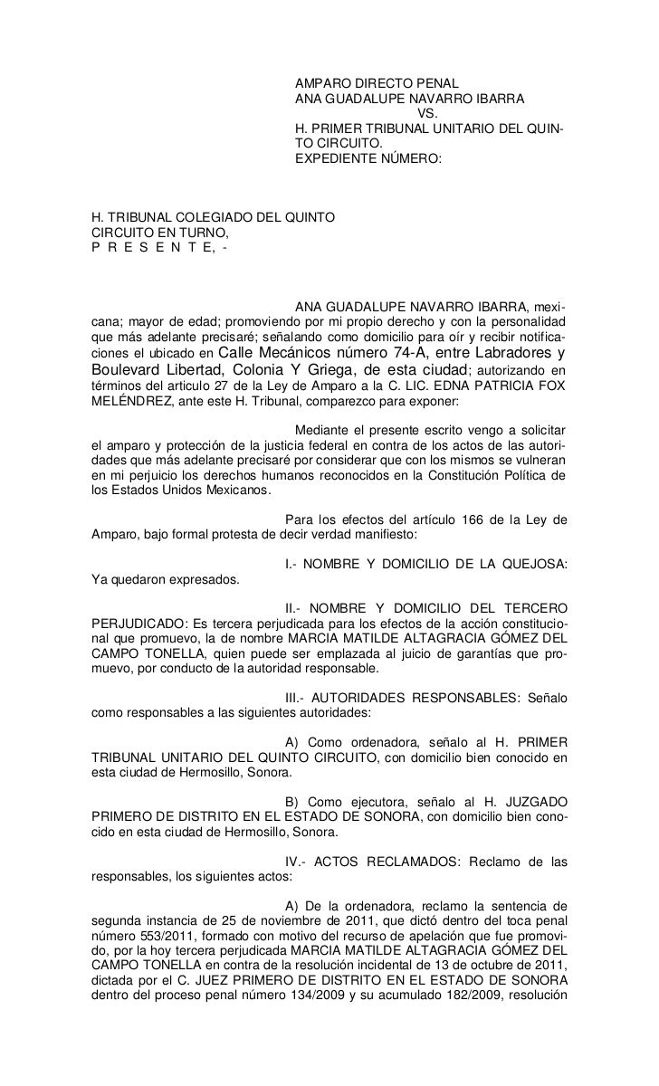 AMPARO DIRECTO PENAL                                   ANA GUADALUPE NAVARRO IBARRA                                       ...
