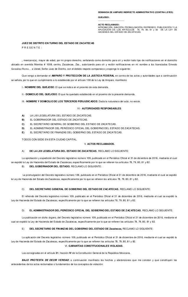 DEMANDA DE AMPARO INDIRECTO ADMINISTRATIVO (CONTRA LEYES) QUEJOSO: ______________________ ACTO RECLAMADO: APROBACIÓN, SANC...