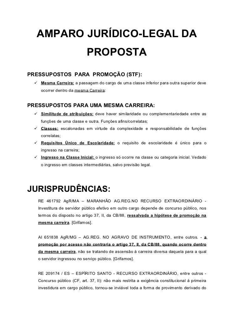 AMPARO JURÍDICO-LEGAL DA                             PROPOSTAPRESSUPOSTOS PARA PROMOÇÃO (STF):  Mesma Carreira: a passage...