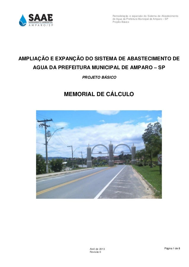 Página 1 de 8Abril de 2013 Revisão 0 Remodelação e expansão do Sistema de Abastecimento de Agua da Prefeitura Municipal de...